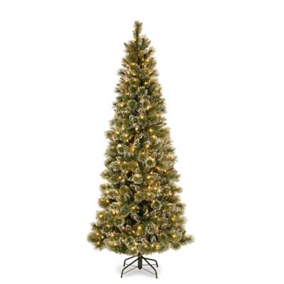 National Tree 7.5-Foot Glittery Bristle Pine with 600 Pre-Strung Soft White LED Lights