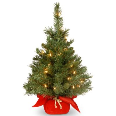 National Tree Pre-Lit 24-Inch Majestic Fir in Red Cloth Bag
