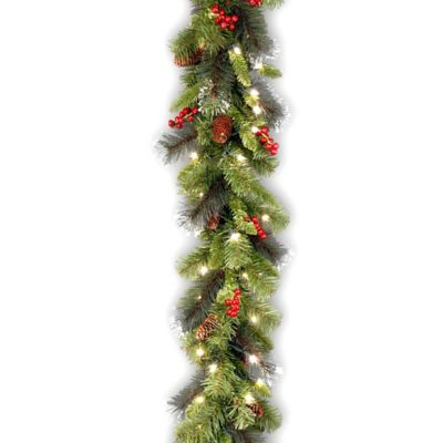 National Tree Pre-Lit Crestwood Spruce 9-Foot Garland with White Lights