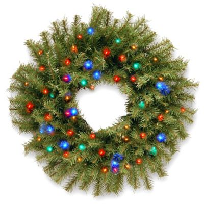 National Tree Norwood Fir 24-Inch Pre-Lit Wreath with Multi-Colored LED Lights