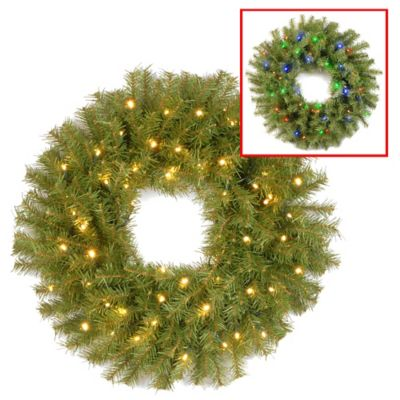 National Tree Norwood Spruce 24-Inch Pre-Lit Wreath with Dual Color Changing LED Lights