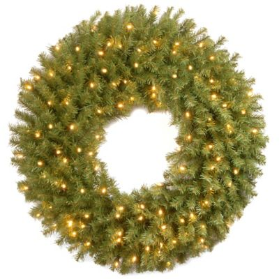 National Tree Norwood Fir 36-Inch Pre-Lit Wreath with Warm White LED Lights