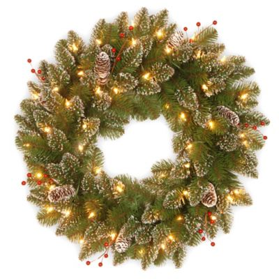 Pre-Lit 24-Inch Glittery Mountain Spruce Wreath