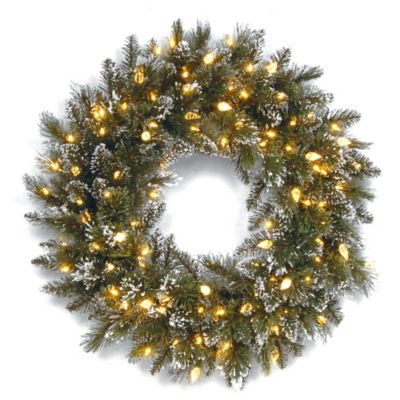 National Tree Pre-Lit 24-Inch Glittery Bristle Pine Wreath