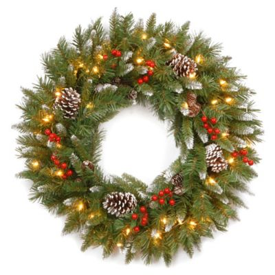 National Tree Pre-Lit 24-Inch Frosted Berry Wreath