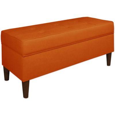 Skyline Furniture Storage Bench in Tangerine