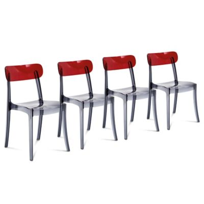 Domitalia Retro Dining Chair in Red/Clear (Set of 4)