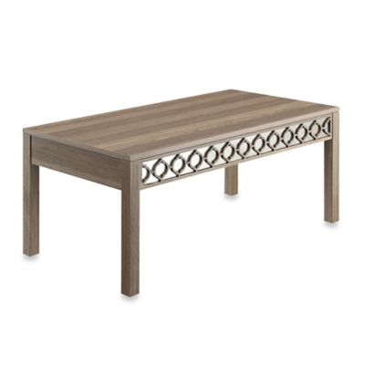 Office Star Products Helena Coffee Table with Mirror Accent Panel