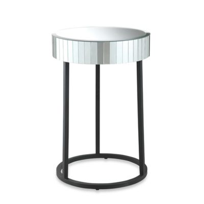 Office Star Products Krystal Round Mirror Accent Table