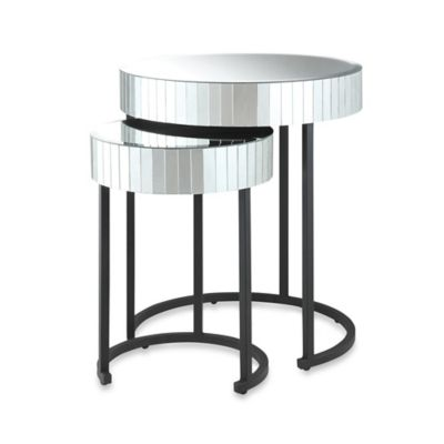 Office Star Products Krystal 2-Piece Round Mirror Nesting Tables in Black