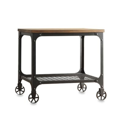 Verona Home Morgan Wood and Metal End Table with Fixed Wheels