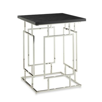 Verona Home Kalispel Accent Table in Ebony/Chrome