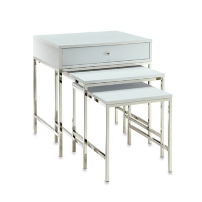 Verona Home Karling Nesting Tables in White/Chrome