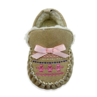 Rising Star Size 3-6M Fair Isle Moccasin Slipper in Brown