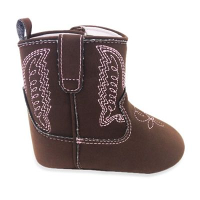 Rising Star Size 3-6M Cowboy Boot With Pink Embroidery in Brown