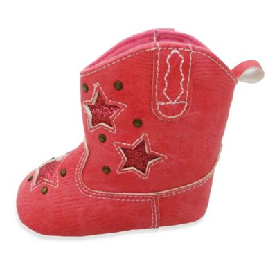 Rising Star Size 9-12M Cowgirl Boot With Stars in Pink