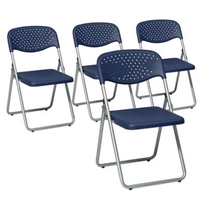 Office Star Products Folding Chair in Black (Set of 4)