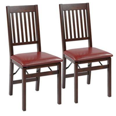 Office Star Products Hacienda Mission Back Folding Chair in Red (Set of 2)