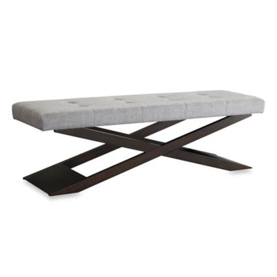 Verona Home Welekta Wood X-Base Bench in Brown Faux Leather