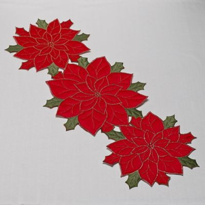 Sam Hedaya 54-Inch x 14-Inch Poinsettia Table Runner