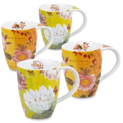 Konitz Lotus and Fruit Tea Flower Mugs (Set of 4)