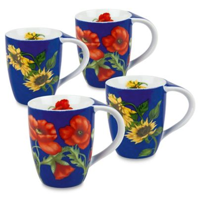 Konitz Flower Mugs in Blue (Set of 4)