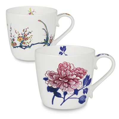 Konitz Butler Peony and Bird Mugs (Set of 2)