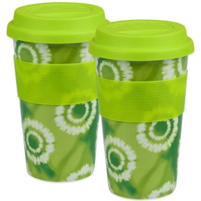 Konitz Batik Travel Mugs in Green (Set of 2)