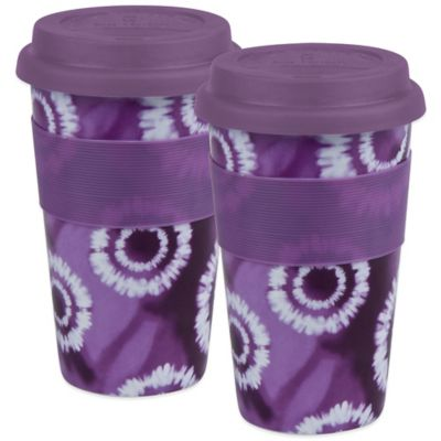 Konitz Batik Travel Mugs in Purple (Set of 2)