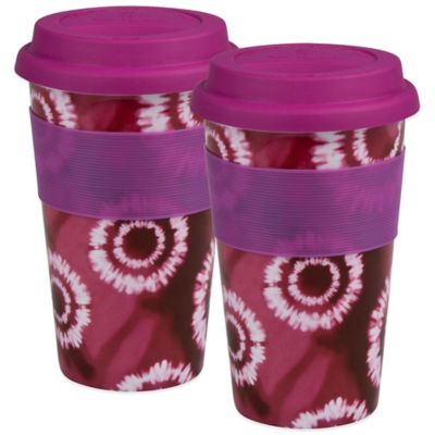 Konitz Batik Travel Mugs in Pink (Set of 2)