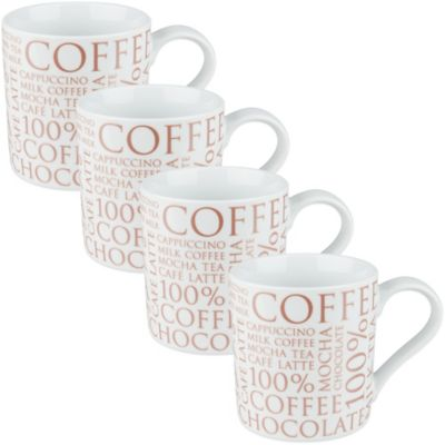 Konitz 100% Coffee Mugs in White (Set of 4)