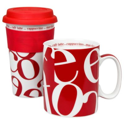 Konitz Script Collage To Stay/To Go Mugs in Red (Set of 2)