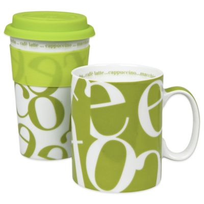 Konitz Script Collage To Stay/To Go Mugs in Green (Set of 2)