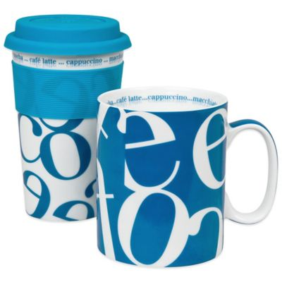 Konitz Script Collage To Stay/To Go Mugs in Blue (Set of 2)