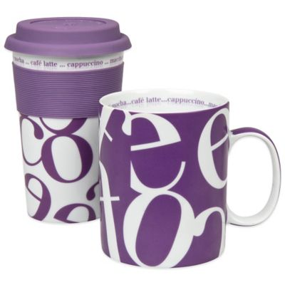 Konitz Script Collage To Stay/To Go Mugs in Purple (Set of 2)