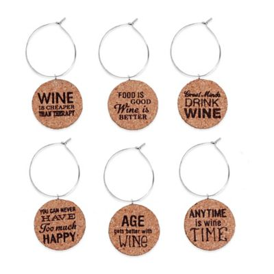 Witty Cork Wine Charms (Set of 6)