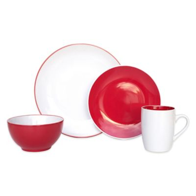 Euro Ceramica Sofia 16-Piece Dinnerware Set in Red/White