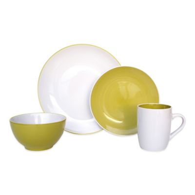 Euro Ceramica Sofia 16-Piece Dinnerware Set in Green/White