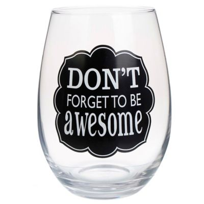 "Awesome"" Stemless Wine Glass"
