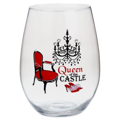 """Queen of the Castle"" Stemless Wine Glass"