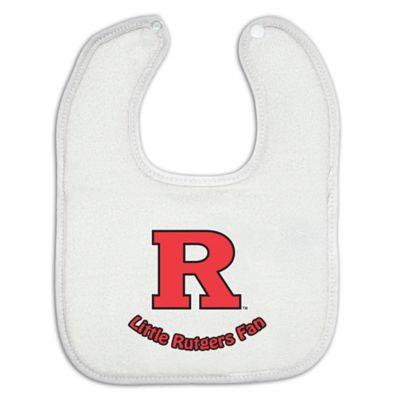 Little Rutgers Fan Baby Bib in White