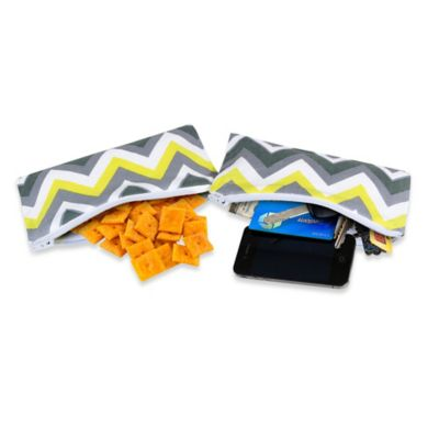 Itzy Ritzy® Mini Snack Happens™ Reusable Snack & Everything Bag in Yellow Chevron (Set of 2)