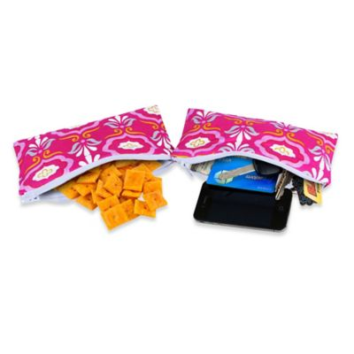 Itzy Ritzy® Mini Snack Happens™ Reusable Snack & Everything Bag in Pink Damask (Set of 2)
