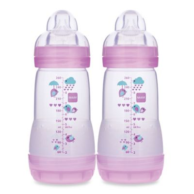 MAM 2-Pack 9 oz. Anti-Colic Bottle in Pink
