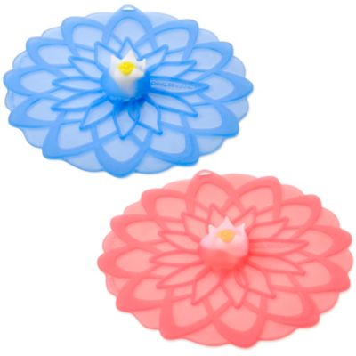 Charles Viancin® Dahlia™ 4-Inch Silicone Drink Covers in Blue (Set of 2)