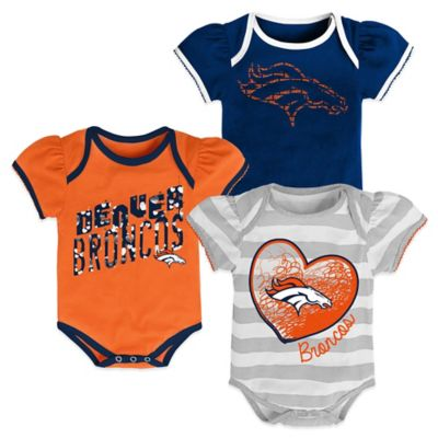 NFL Size 18M Denver Broncos 3-Pack Bodysuit Set