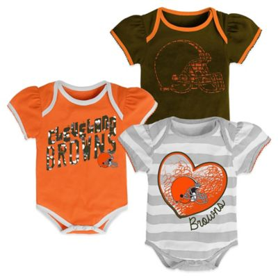 NFL Size 18M Cleveland Browns 3-Pack Bodysuit Set