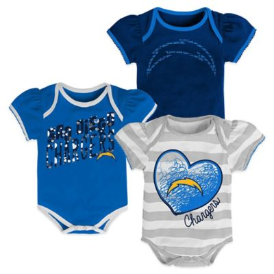 NFL Size 12M San Diego Chargers 3-Pack Bodysuit Set