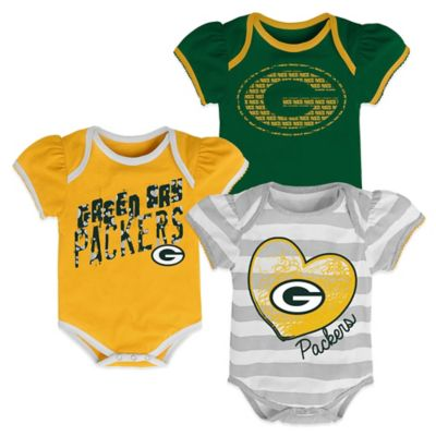 NFL Green Bay Packers Size 24M 3-Pack Creepers