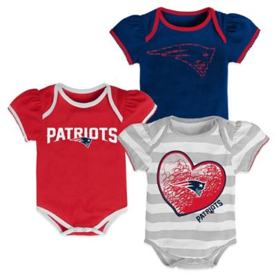 NFL Size 12M 3-Piece New England Patriots Bodysuit Set